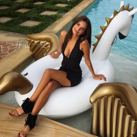 Summer Holiday 2.5m 98in swimming ring swimming pool Inflatable Pegasus Water Floats Unicorn Float White Unicorn Water Rafts