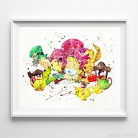 Alice in Wonderland Mad Hatter and Rabbit Disney Nursery Poster Print UNFRAMED by Inkist Prints