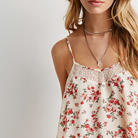 Lace-Paneled Rose Print Cami