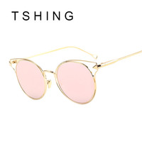 Retro Cat Eye Sunglasses Women Rose Metal Shades Round Mirrored Lenses