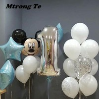17pcs/lot Mickey Minnie Mouse birthday Foil Balloons for baby one year old 1st Birthday Party Decor baby shower Kids Gift toy