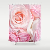 pink roses Shower Curtain by sylviacookphotography