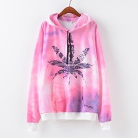 Autumn Women's Fashion Leaf Print With Pocket Casual Pullover Hoodies [9101517895]
