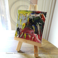 Mini Oil Painting Abstract Oil Painting With Mini Easel Original Oil Painting Small Oil Painting Mini Painting Miniature Art Impressionist