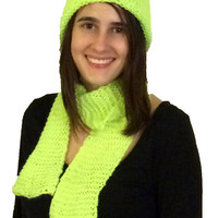 Neon Green Knitted Hat and Scarf Set, Knit Beanie with Matching Scarf, Neon Yarn Matching Hat and Scarf, Bright Green Chartreuse