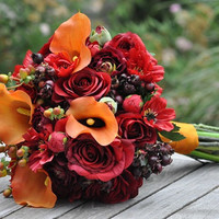 Vibrant Fall Wedding Bouquet, Keepsake Bouquet, Bridal Bouquet, made with Orange Calla Lily, Red Rose, Ranunculus, Berry silk flowers.