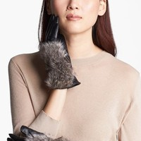 Surell Leather Gloves with Faux Fur Trim | Nordstrom