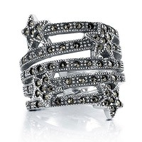 Sterling Silver Marcasite Ring in Star Design #r212