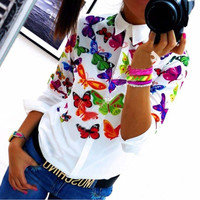 White Butterfly Print Pointed Collar Long Sleeve Blouse