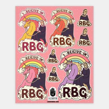 Ruth Bader Ginsburg on a Unicorn Stickers