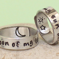 Moon of my Life - My Sun and Stars Rings..Hand Stamped Rings.. Personalized Couples rings.. Game of thrones relationship rings..