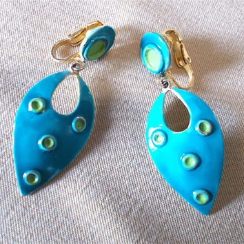Vintage 60's Turquoise & Lime Green Enamel Teardrop Cutout  Dangle Clip On Earrings, Groovy Retro Fashion Jewelry Unique Bold Statement Gift
