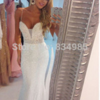 White Sparkling Sequins Sweetheart Spaghetti Strap Appliques Sexy Mermaid 2015 Long Evening Dress Prom Dresses