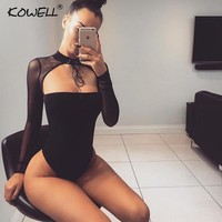 Kowell Choker Strapless Sexy Bodysuit Women Mesh Long Sleeve Bandage Bodycon Top Rompers Casual Party Jumpsuits Women Overalls