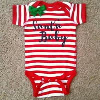 Santa Baby - Christmas Baby - Mia Grace Designs - Girls Onesuit -  Body Suit - Glitter  - Onesuit - Ruffles with Love - Baby Clothing - RWL Kids