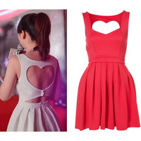 Sexy hollow out peach heart halter strap dress BADI