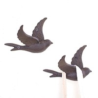 Bird Wall Hook or Wall Decor ~ Cast Iron (Set of 4)