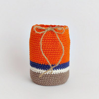 Blue orange pen holder, eco friendly pencil organizer, desk accessory, upcycled glass office decoration, kids room decor, crochet organizer