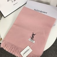 YSL Saint Laurent embroidered letters long shawl scarf
