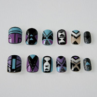 SALES!Tribal summer fake nails!Set of 12 false nails hand painted in a coloured tribal pattern
