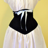 Waist Cincher Black Underbust Corset by LaBelleFairy on Etsy