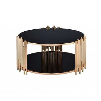 """37"""" X 37"""" X 18"""" Black Glass And Gold Coffee Table"""