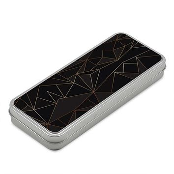 Abstract Black Polygon with Gold Line Pencil Case Box by The Photo Access