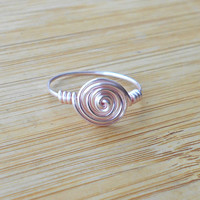 Pink ring, Simple wire ring, minimalist ring, pink wire ring, bohemian ring, custom ring, hippie rings, swirl wire ring, swirl ring, boho