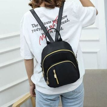 Black Nylon Mini Backpack