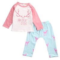 Cute Baby Girls Letter T-shirt Toddler Pink Top Baby Boy Deer Pants Infant Animal Clothing Set Kids Autumn 2pcs Outfits