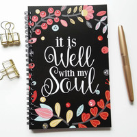 Writing journal, spiral notebook, bullet journal, black, floral, sketchbook, blank lined or grid paper, prayer - It is well with my soul