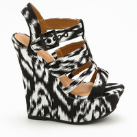 BLACK & WHITE TRIBAL PATTERN WEDGES