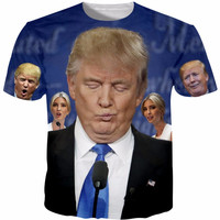 Tshirt Homme 2017 New Novelty Donald Trump Printed T-Shirts Funny 3D Print Tops Short Sleeve Male Top Tees Plus Size 5XL