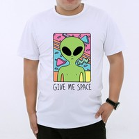YGYKE 2017 new Give Me Space New Arrival Vintage Alien Printed Men's Casual T-shirt Male Retro Design Funny Tops tee men YG0216
