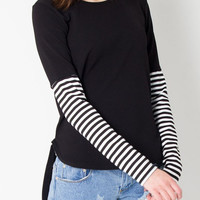 Black Color Block Striped Sleeve Dipped Back T-shirt