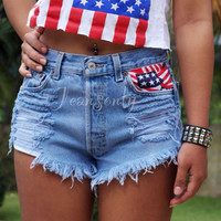 High waisted American flag shorts