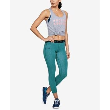 Under Armour Favorites French Terry Cropped Leggings,Large Tourmaline Teal/Black