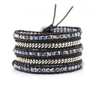 Twilight Blue Crystals and Silver Chain on Dark Brown Leather Wrap Bracelet