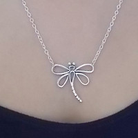 silver dragonfly necklace fashion jewellery silver necklace dragonfly charm necklace handmade necklace gift for women handmade jewellery