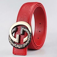 GUCCI Fashion GG Buckle More Letter Leather Women Men Leisure Belt Red