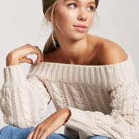 Off-the-Shoulder Cable Knit Sweater - Women - New Arrivals - 2000243217 - Forever 21 Canada English