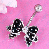 Bow Belly button Ring - 14G Surgical Steel