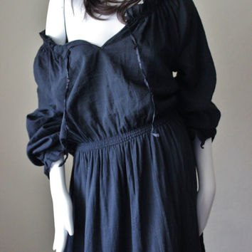 Vintage peasant dress, off the shoulder, European, black, cotton, urban gypsy maxi dress. Made in the UK, Betty Barclay brand.