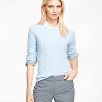 Women's Cashmere Cable Knit Crewneck Sweater | Brooks Brothers