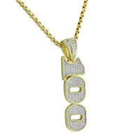 One Hundred 100 Pendant Yellow gold Tone Simulated Diamonds 24 Inch Chain