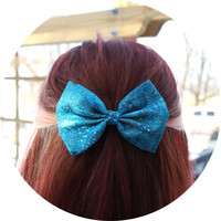 Jade Hair Bow - Blue/Green Pattern with Gold Flecks Hair Bow with Clip