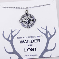 Antique Silver Compass Necklace, compass jewelry, jewelry with meaning, wanderer necklace, traveler necklaces, birthstone, initial, N10189