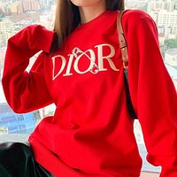 Dior New trendy style pin embroidery letter lovers loose round neck sweater