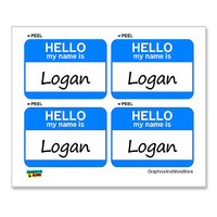 Logan Hello My Name Is - Sheet of 4 Stickers