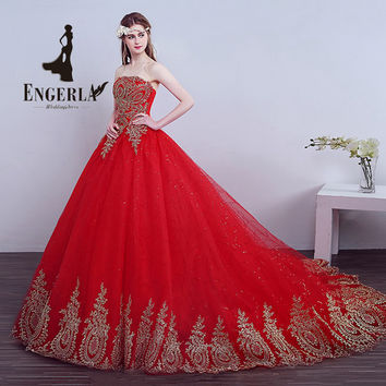 ENGERLA Red Lace Court Train Wedding Dress Sweet Princess Off Shoulder Lace Up Back Plus Size Luxury Bride Ball Gown